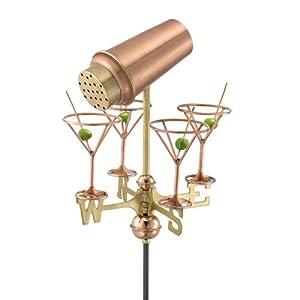"""Martini Glasses Garden Weathervane (Copper and Brass) (10.5""""H x 13.5""""W)"""