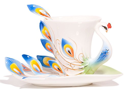 Hand Crafted Porcelain Enamel Graceful Peacock Pattern Tea Coffee Cup Set (With Saucer And Spoon) Gift (White Blue)