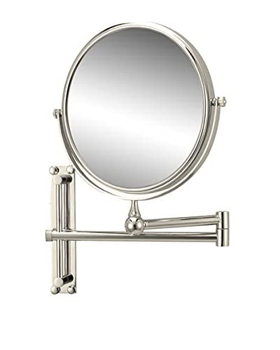 Nameeks Round Wall Mounted Double Face 3X Makeup Mirror, Satin Nickel Finish