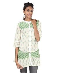Rajrang Womens Cotton Tunic ,Green And White ,Small
