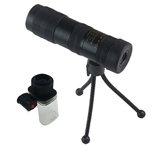 TOMO 10-120x30 Mini 4 Focus High Powered with LED Lights Microscope/ Magnifier Scalable to Stretch Zoom Metal Optical Telescope Monocular for Hunting Camping Golf Hiking Fishing Bird Watching, Non-Sli
