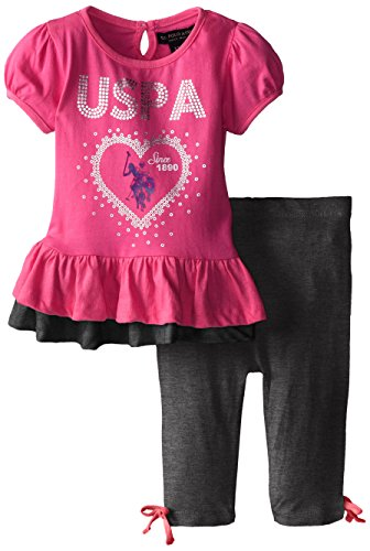 U.S. Polo Assn. Baby-Girls Infant Short Sleeve Peplum Top And Capri Length Leggings, Heather Charcoal, 24 Months