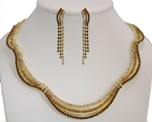 Bronze, Light Brown & Clear Rhinestone Necklace & Earring Set on Gold - Light Brown Bridesmaid Jewelry