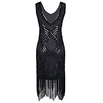PrettyGuide Women's 1920s Gatsby Art Deco Beads Fringed Cocktail Flapper Dress