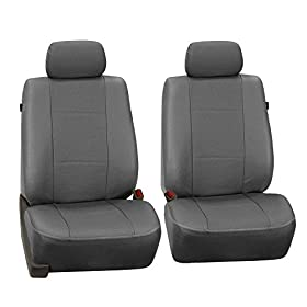 FH-PU007102 Deluxe Leatherette Bucket Seat Covers, Airbag compatible, Gray color