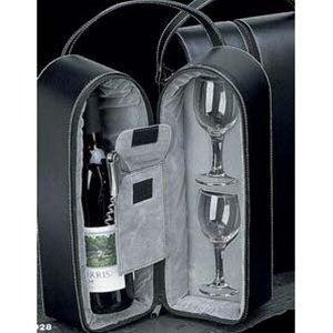 Bey-Berk Wine Caddy with Two Glasses