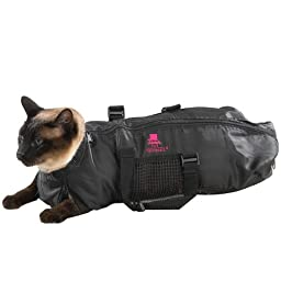 Top Performance  Cat Grooming Bag - Durable and Versatile Bags Designed to Keep Cats Safely Contained During Grooming and/or Bathing - Medium, Black
