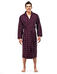 Mens Premium Flannel Robe - [Black/Burgundy Plaid] - Large/Xlarge