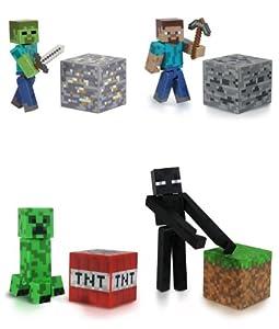 Minecraft Steve?, Zombie, Creeper, & Enderman Set of 4 Figures by JAZWARES