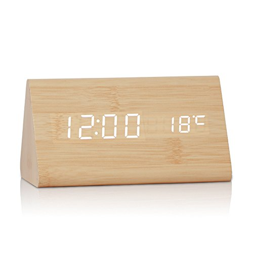 Neon® New Triangular Sound Control USB/AA Battery Powered Wooden LED Alarm Digital Desk Clock Despertador with Thermometer Calendar Adjustable Brightness (Bamboo Wood + White Light)
