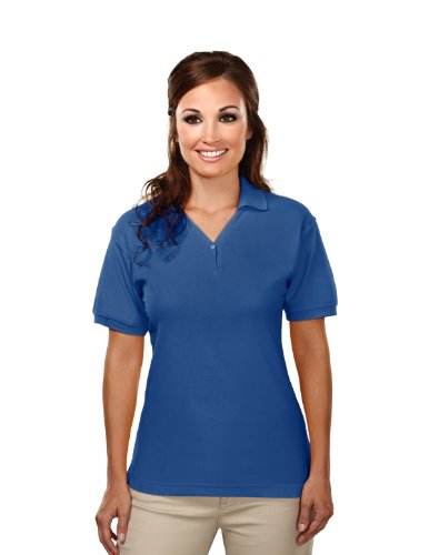 Tri-Mountain Womens Cotton Baby Pique Y-Neck Golf Shirt. 186 - Royal_Xs front-1050184
