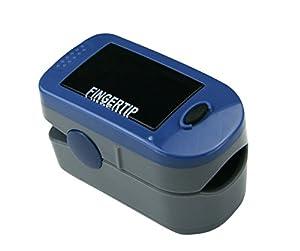 Oxymètre / saturomètre pour bout de doigt (fonctionne en anglais seulement) ayant 2 fonctions : 1) moniteur de fréquence cardiaque / pouls, 2) appareil de mesure du pourcentage de saturation de l'hémoglobine en oxygène SPO2. Portable, écran OLED, certifié CE, FDA et MDL