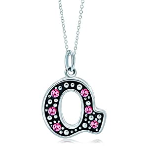 Pugster Silver Rose Pink Crystal Diamond Accent Letter Q Link Charm Charms Bracelet & Pendant Necklace