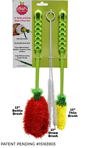 Long Bottle Brush Cleaner Set (3-in-1) and Straw Brushes or Dish Brush | Thick and Thin Brush with Straw Cleaners for Washing Baby Bottle, Water Bottles, Mugs, Wine Stemware, Hummingbird Feeder (Plastic Water Bottle Cleaner compare prices)