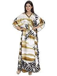 Saashiwear Women's Leopard Print Satin Kaftan Orange