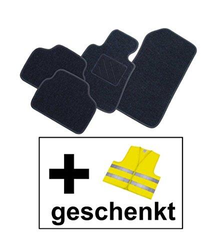 RAU Passform Fussmatte FREE graphit inkl. Warnweste gelb für Mercedes E-Klasse W211 / S211 Limousine / T-Modell Kombi Bj. 03/02 - 02/09 mit Mattenhalter vorne