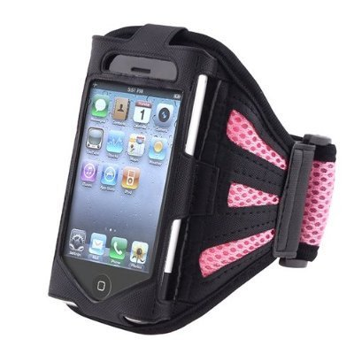 Deluxe Armband Compatible With Apple iPhone 4 - Version iPhone 4S - AT&T, Sprint, Version 16GB 32GB 64GB, Black Light Pink