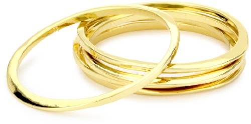 "Jules Smith ""Surf"" 14k Gold-Plated Bangle Bracelet Set"