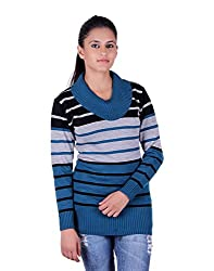 eWools Women's Woolen Sweater (Miss18-416_Blue Grey Black_X-Large)