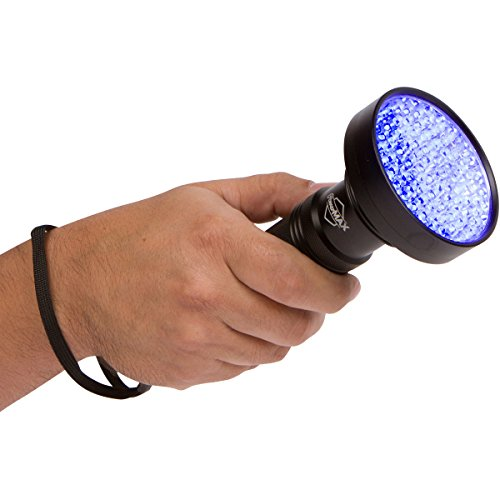 SUPER BRIGHT 100 LED Blacklight UV Flashlight- Emits a POWERFUL 30 Foot Ultraviolet Flood Light Beam - Finds Pet Urine Stains, Scorpion Hunting, Bed Bugs, Mold & Leak Detection - Commercial or Home (Water Leak Locator compare prices)