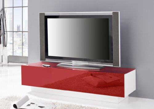 wohnzimmer ideen testen lowboard ego lackierte glasfront und oberboden in rot. Black Bedroom Furniture Sets. Home Design Ideas