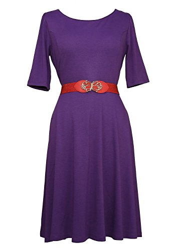 Modeway Women's Half Sleeve A Line Knee Length Vintage Dress( XL,Dark purple)N9-4
