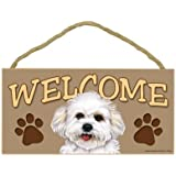 Bichon Frise / Bichon Wood Welcome Door Sign 5''x10''