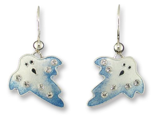 Ghost Crystal, Enamel & Stering Halloween Earrings