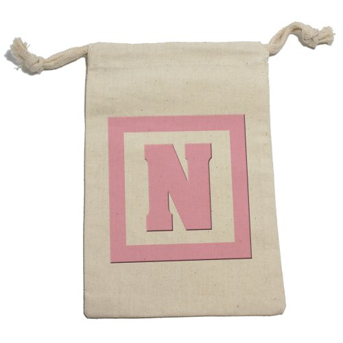 Letter N Initial Baby Girl Block Pink - Shower Muslin Cotton Gift Party Favor Bags - Lg (12)
