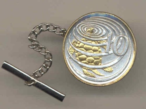 Gorgeous 2-Toned Gold on Silver World Coin Tie-Tack-178TT