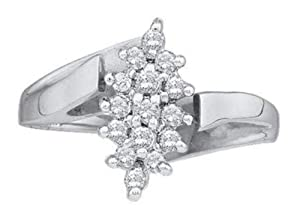 Pricegems 14K White Gold Ladies Round Brilliant Diamond Cluster Set Ring (1/4 cttw, H-I Color, I1/I2 Clarity, Ring Size: 5.25)