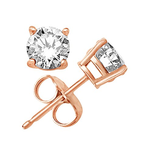 Rose Gold Overlay on 925 Sterling Silver Earrings Top Quality Cubic Zirconia Round Stones in Different Sizes (3 Millimeters)