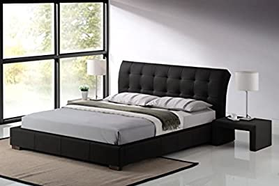 Modern Furniture Direct Fabio Double Designer Leather Bed and 10-Inch Supreme Memory Foam Mattress 4 ft 6-Inch, Black