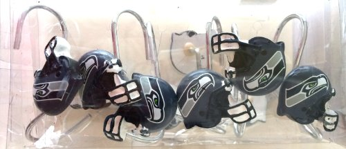 Seattle Seahawks NFL Football Helmet Shower Curtain Rings Hooks at Amazon.com