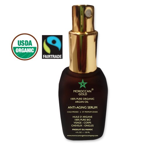 100% Pure Organic Argan Oil By Moroccan Gold Winner Of The Gold Trophy Best Argan Oil Producer In Morocco 2013 - #1 Moroccan Argan Oil - Usda/Ecocert Approved Fair Trade Certified 120 Ml / 4 Oz - Lightweight, Quick To Absorb And Hydrate - Cold Pressed Pre