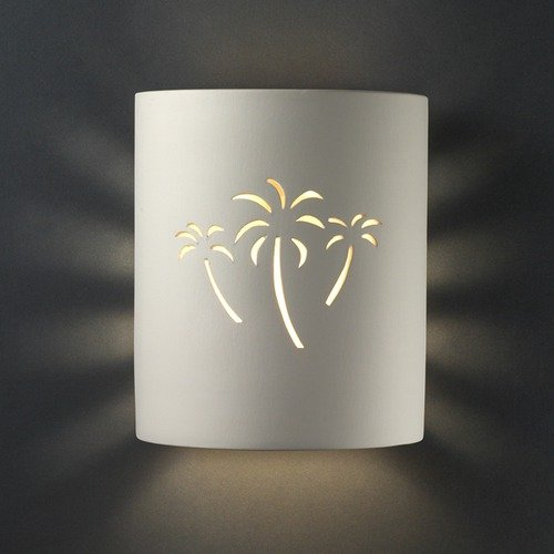 Justice Design Group Sun Dagger Harvest Yellow Slate Palm Cutout Small Cylinder Outdoor Wall Sconce front-182742
