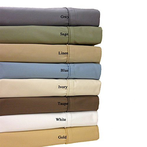 California Queen Size White Wrinkle Free 650TC Egyptian Cotton Sheet Set, Includes: One Flat Sheet 92x106