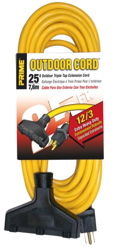 Prime EC600825 Extra Heavy Duty 25-Foot Outdoor Generator Extension Cord 3-Conductor Triple Tap (Generator Cords compare prices)
