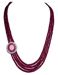 4 Rows Of Ruby Gemstone Necklace With Pearl & Ruby Studded Pendant