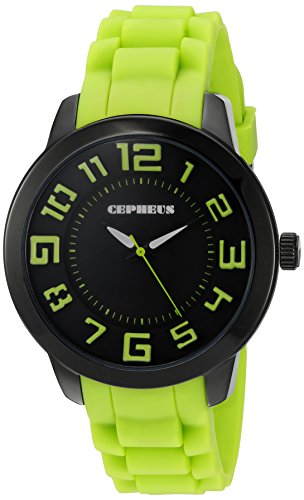 Cepheus Women's Quartz Watch with Black Dial Analogue Display and Green Silicone Strap CP604-620A