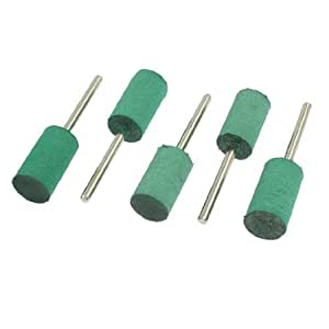 12mm x 20mm Cylindrical Tip 3mm Shank Grinding Rubber Mounted Point Green 5 Pcs
