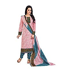 MAC Pink Printed Unstitched Salwar Suit for Women