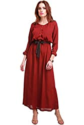 Maroon Belted Maxi Dress