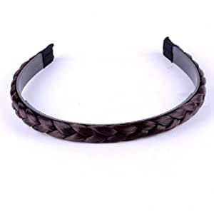 Brownish Girl Braided Plait Plaited Wig Hair Band Headband Brownish Black