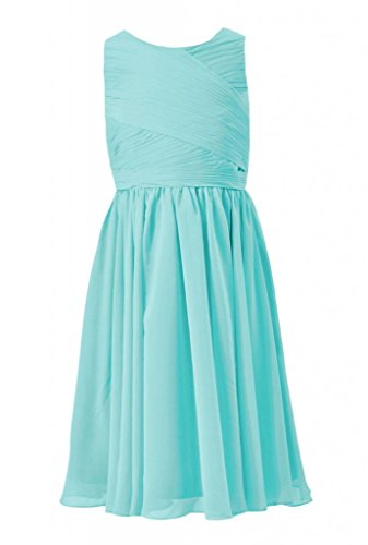 Daisyformals Tea Length Jewel Neckline Chiffon Junior Bridesmaid Dress(Fl5196Al)- Tiffany Blue