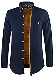 APTRO Men\'s Corduroy Winter Fleece Warm Thermal Casual Dress Shirt Navy Blue US L(Tag 5XL)