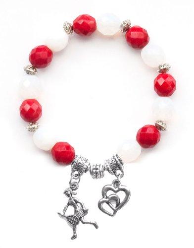 """Tennis Girl"" Girls Tennis Bracelet (Team Colors Red & White)-Large"