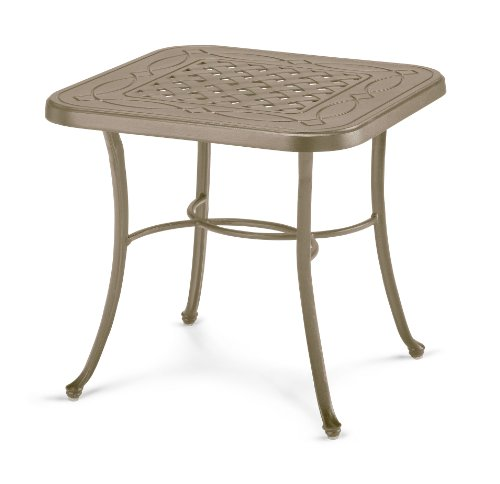 Telescope Casual Square Cast Aluminum End Table, 22-Inch, Textured Canyon Frame Finish