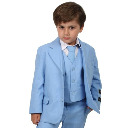 JL5026 SKY BLUE Cotton/Linen Boys Summer Suit From Baby to Teen (4)
