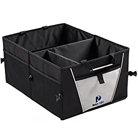 Premium Trunk Organizer by Busy Life- Multipurpose Storage for Car Truck or SUV! Highest Rated Sturdy Car Organizer. Bonus PDF: 'Tips and Techniques for Organizing your Car like a Pro' !